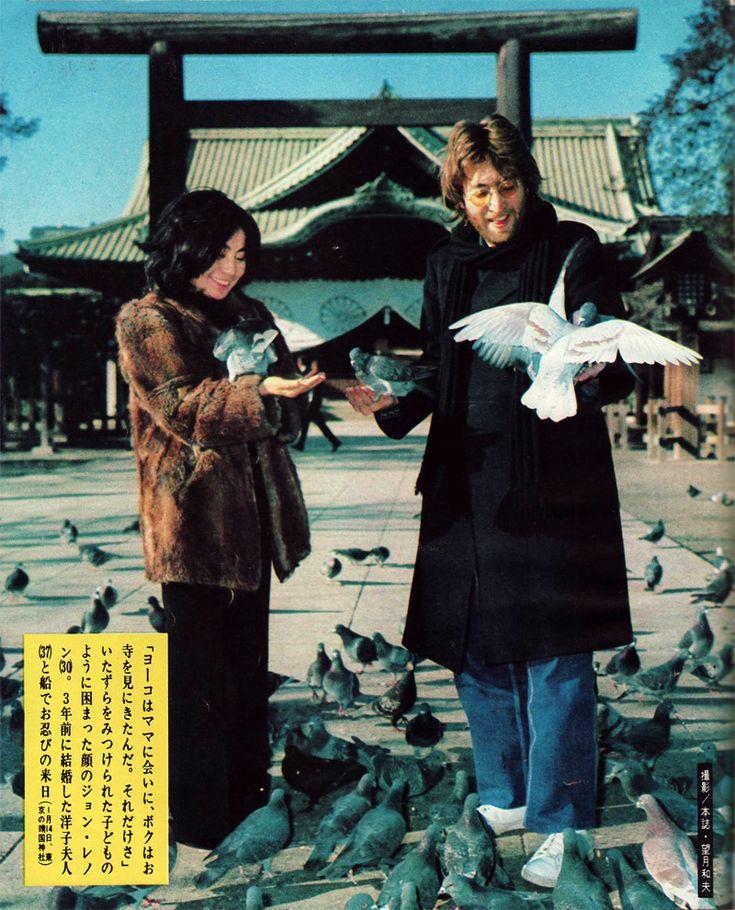 "taishou-kun: ""John Lennon (1940-1980) & his wife Ono Yoko 小野洋子 visit the Yasukuni Shrine 靖国神社 - Japan - January 14, 1971 Source : kimokenblog """
