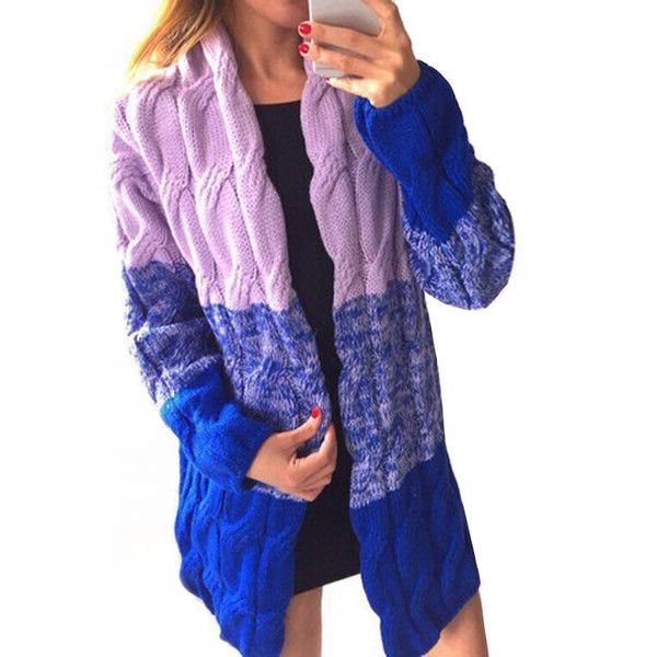 Yoins Fashion Dark Blue Gradient Oversize Cardigan ($33) ❤ liked on Polyvore featuring tops, cardigans, black, thin cardigan, oversized open front cardigan, cami top, open front cardigan and oversized cardigan