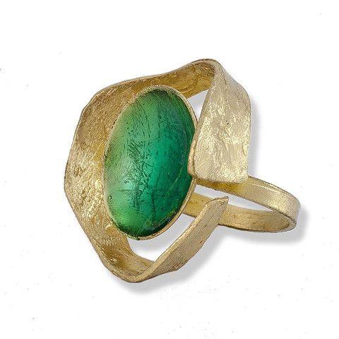 Handmade Bronze Green Enamel Ring