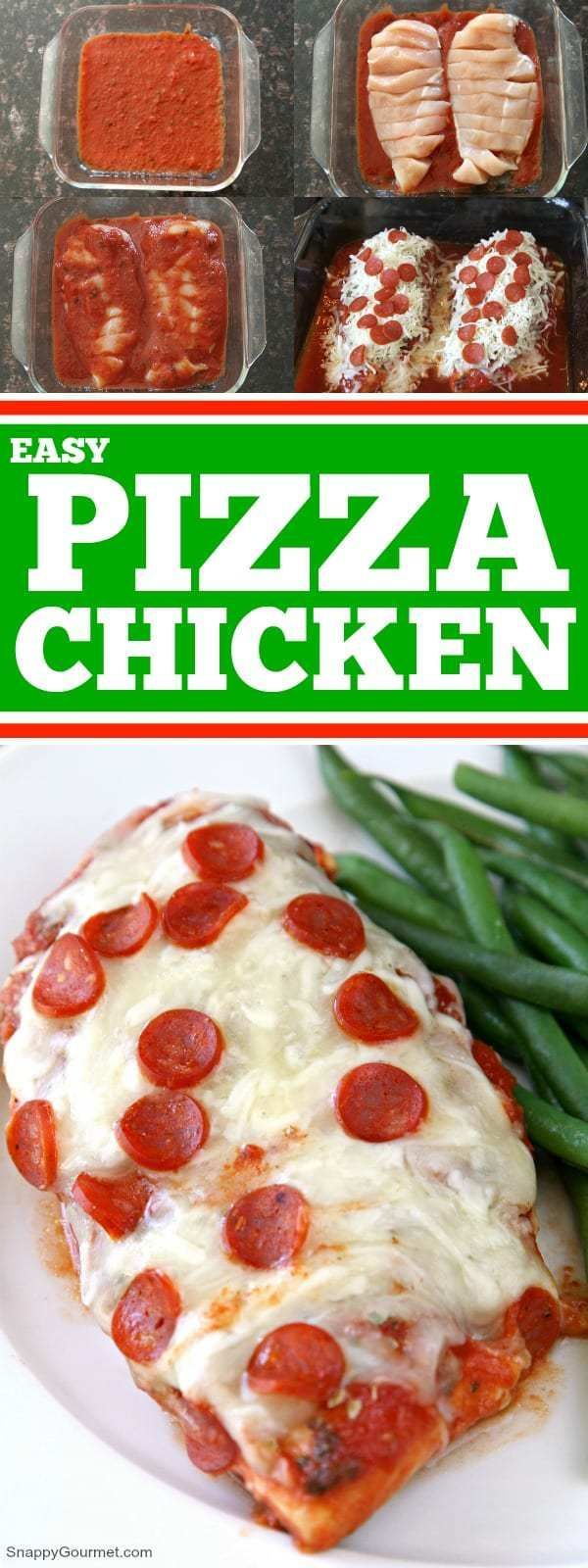 Easy Pizza Chicken Recipe - low carb baked chicken recipe with tomato sauce, cheese, spices, and pepperoni. SnappyGourmet.com #LowCarb #GlutenFree #Pizza #SnappyGourmet