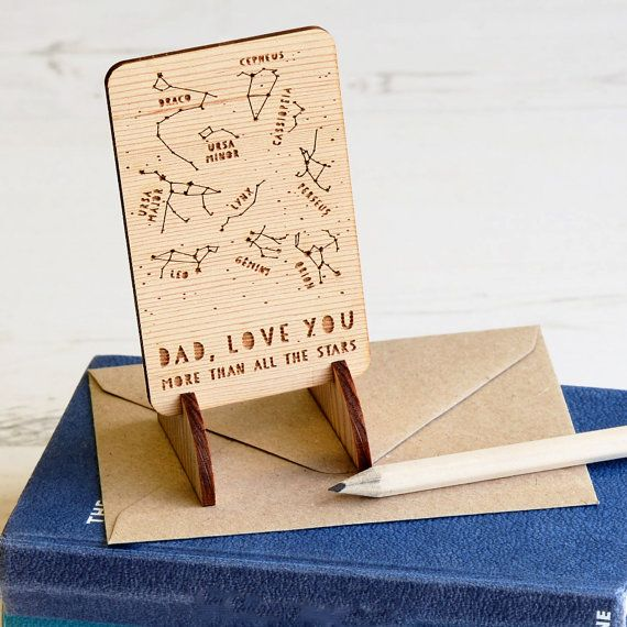 Wooden Father's Day Keepsake Card. Unique by NewtonAndTheApple