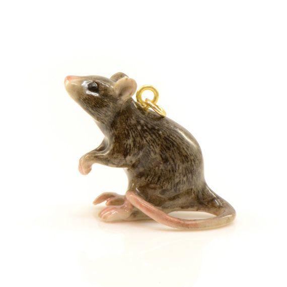 1 - Porcelain Rat Pendant Animal Hand Painted Ceramic Animal Ceramic Brown Rat Vintage Jewelry Supplies Little Critterz Porcelain