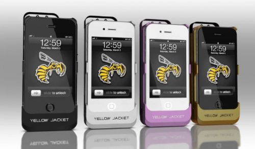 The YellowJacket is an iPhone 4S case that also pulls double duty as a 650,000V stun gun!! Simply activating it will generate a loud and visible spark across the two terminals and could serve as a deterrent to the casual assailant. Should they get closer to you, touching them with the tip of the case will incapacitate even a large male, giving you time to run away to safety.