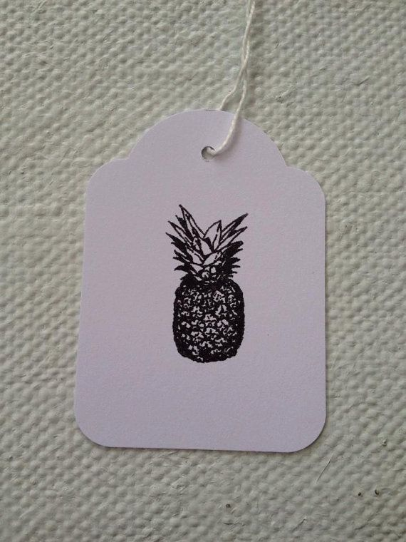 Bulk lot of 100 Hand Stamped Quirky Black Pineapple by TypeWright