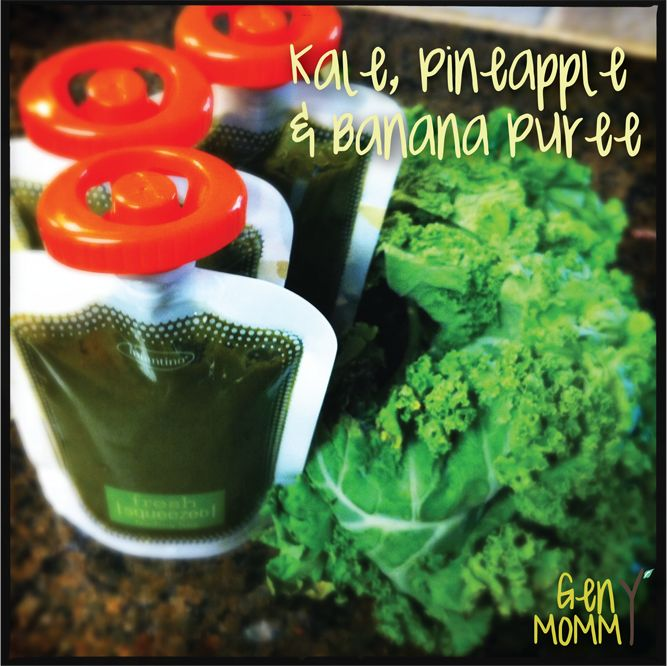 Homemade kale, pineapple & banana baby food. Great for introducing dark greens to baby, and it has tons of vitamin C in it for boosting little immune systems!