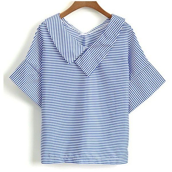 Casual Striped V-Neck Short Sleeve Blouse For Women ❤ liked on Polyvore…