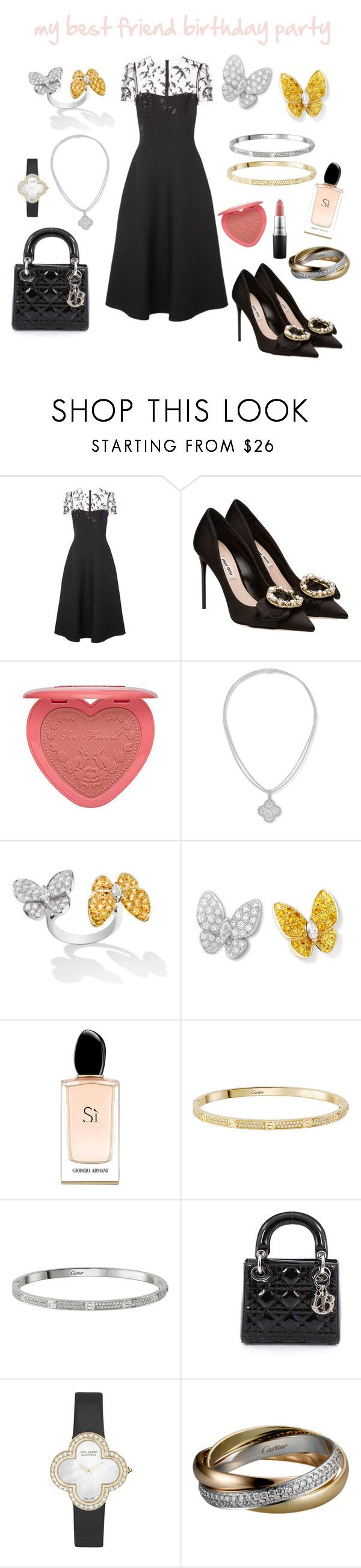 """my best friend birthday party"" by maramyfashion on Polyvore featuring Valentino, Miu Miu, Too Faced Cosmetics, Giorgio Armani, Christian Dior, Van Cleef & Arpels and MAC Cosmetics"