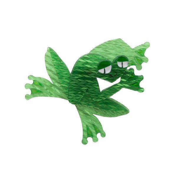 Fargo Frog Green Resin Brooch by Erstwilder
