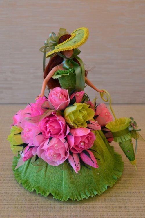 DIY Barbie Chocolate Bouquet dress-06