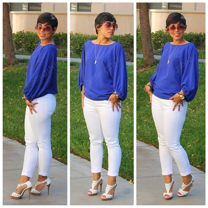 OOTD: White Jeans and Cobalt Blue Top