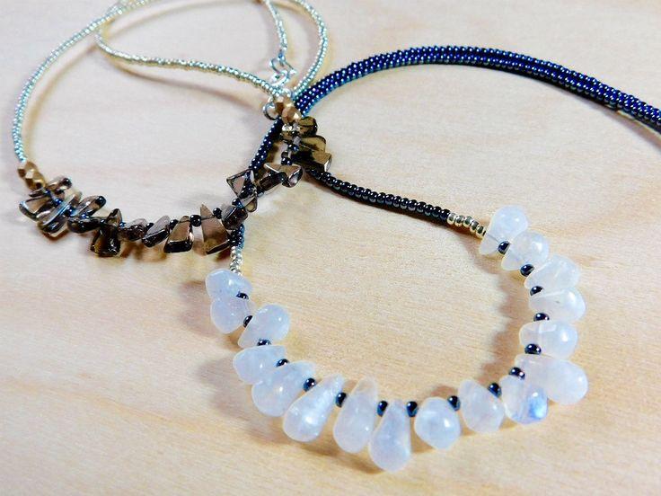 Beaded Necklace, Moonstone teardrops Beads, Seed Beads, Boho Chic Beaded Necklace by jljewellerydesign on Etsy