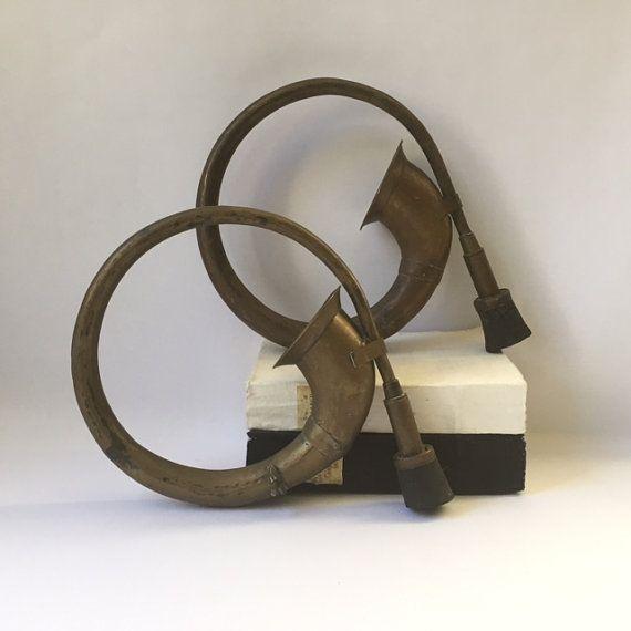 vintage pair brass car horns industrial by sophisticatedflorida