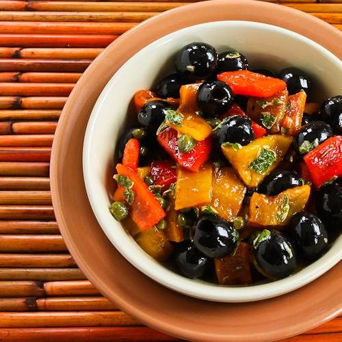 Recipe for Tapas Salad with Grilled Bell Peppers, Olives, and Capers  [#SouthBeachDiet Phase One #Recipe; from Kalyn's Kitchen; visit the blog to see step-by-step photos of this recipe.]