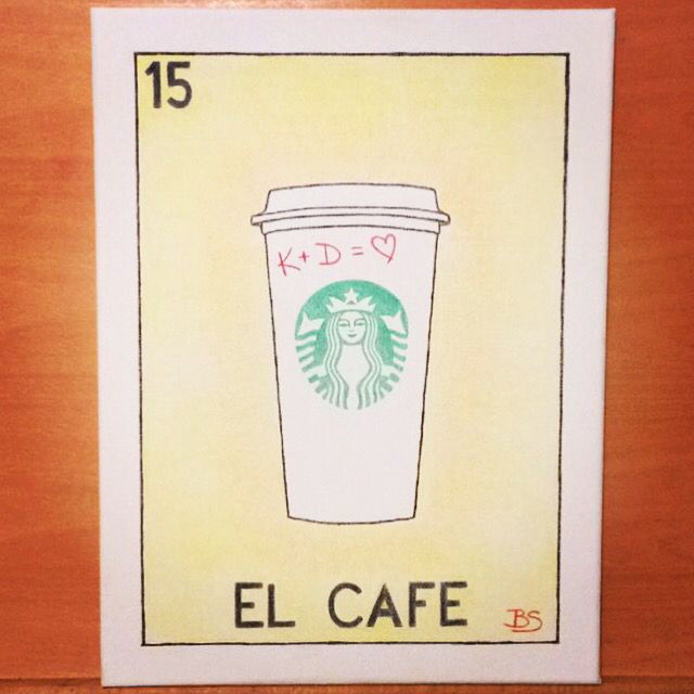 #Custom #wedding #gift #Loteria #style :-) ✏️☕️ #Bee #art #artist #draw #pencil #crayons #ElCafe #coffee #Starbucks #canvas #creative #imagination #love #Mexico #bride #groom  K + D = ❤️