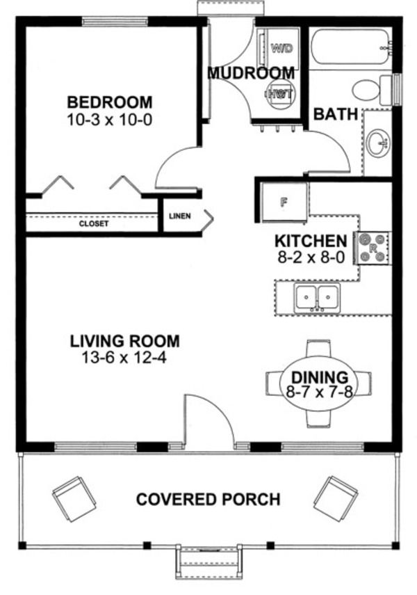 Cabin Style House Plan   1 Beds 1 Baths 598 Sq Ft Plan  126. 327 best Small House Plans images on Pinterest