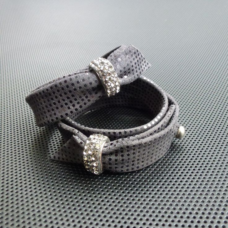 Leather bracelets with rhinestone-bead,Made by UNNI HOFF