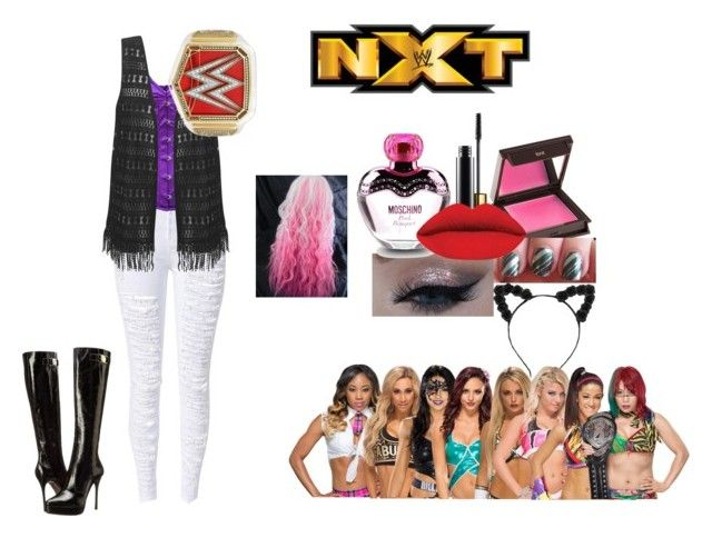 """""""Going down to talk to the NXT divas"""" by wannabebeckylynch ❤ liked on Polyvore featuring Versace, Jouer and Moschino"""
