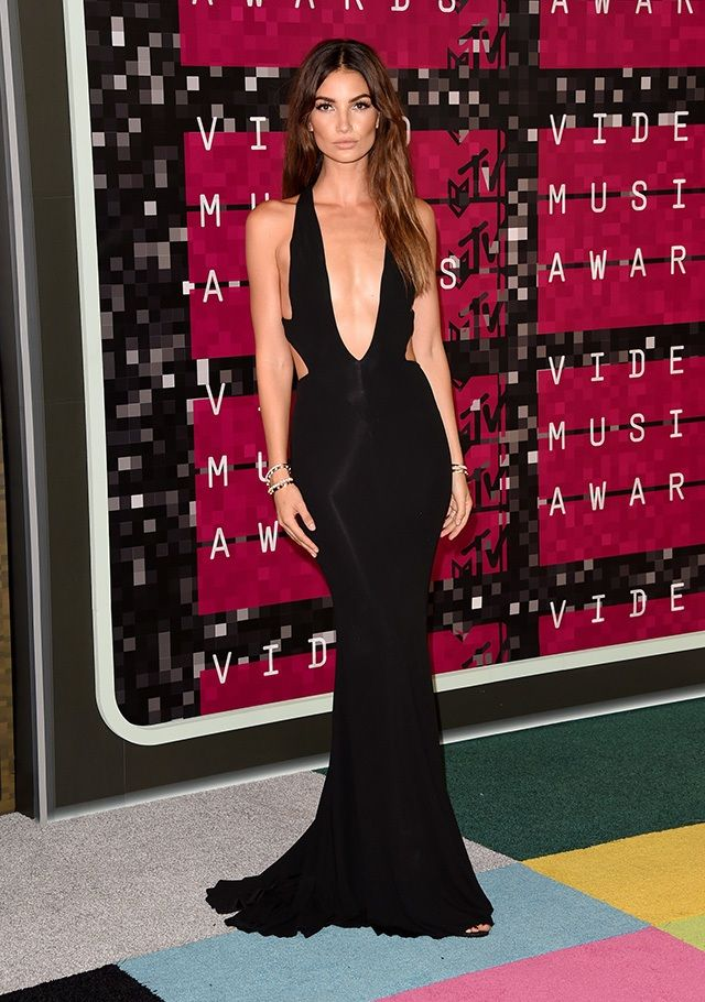 Lily Aldridge in a black gown