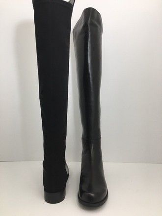 73e5d73f04a4 Stuart Weitzman Black 5050 Women s Tall Over The Knee Leather Boots Booties  Size US 8 Wide (C