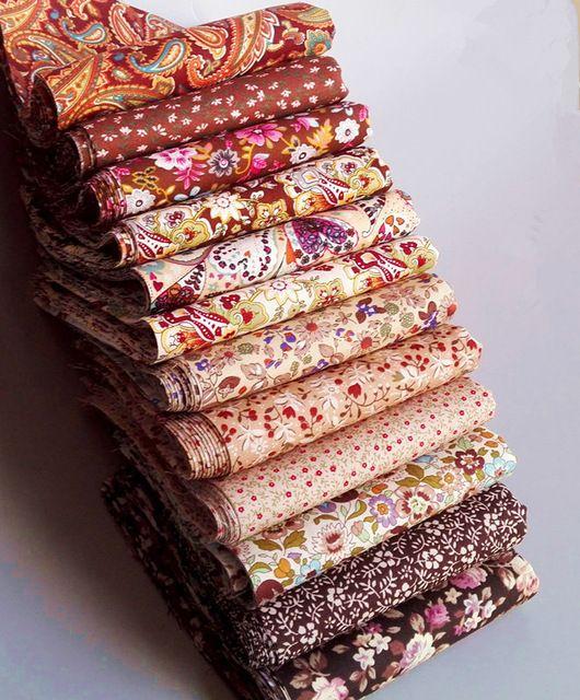 12 adet 23 CM * 24 CM kahverengi Retro dikiş el sanatları tecidos için pamuk patchwork kumaş kapitone doku tilda bebek bez zanaat malzemeleri