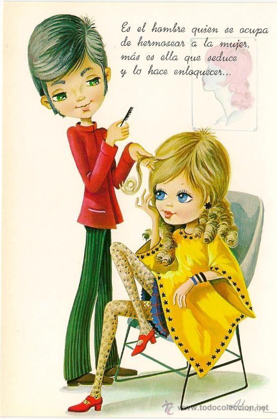 Interesante postal: Simpatica señorita en la peluqueria. Editada en el año 1968. C. y Z. nº 6983