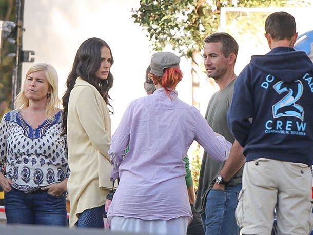 Jordana Brewster and Caleb Walker, Paul Walker's brother on Fast and Furious movie set.