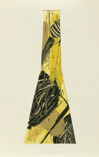 Bohumil Elias, design of glass vase with abstract decoration, gaouche on paper, 54,0 x 26,0 cm, VSUP Prague, 1958 - 63