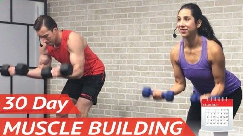 Muscle Building Program at Home Raise your hand if you want more muscle and definition. Yeah, thats what we thought! You've been asking for an easy to follow home bodybuilding calendar and it's finally here. Resistance training