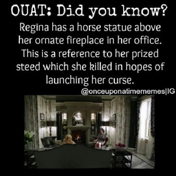 OUAT: Did You Know? The Horse Statue In Regina's Office Is A Reference To Her Prized Steed Which She Had Hoped The Heart Of Would Help Cast The Dark Curse.