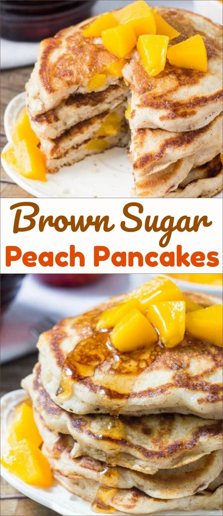 These brown sugar peach pancakes are light & fluffy with golden edges and a delicious hint of brown sugar & cinnamon. Make them with fresh or canned peaches for the perfect breakfast pancakes. via @ohsweetbasil