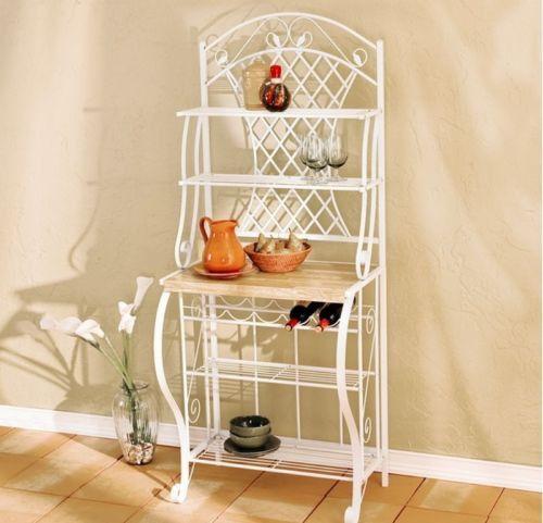 Transitional Baker's Rack 5-Bottle Wine Storage Kitchen Furniture White Finish