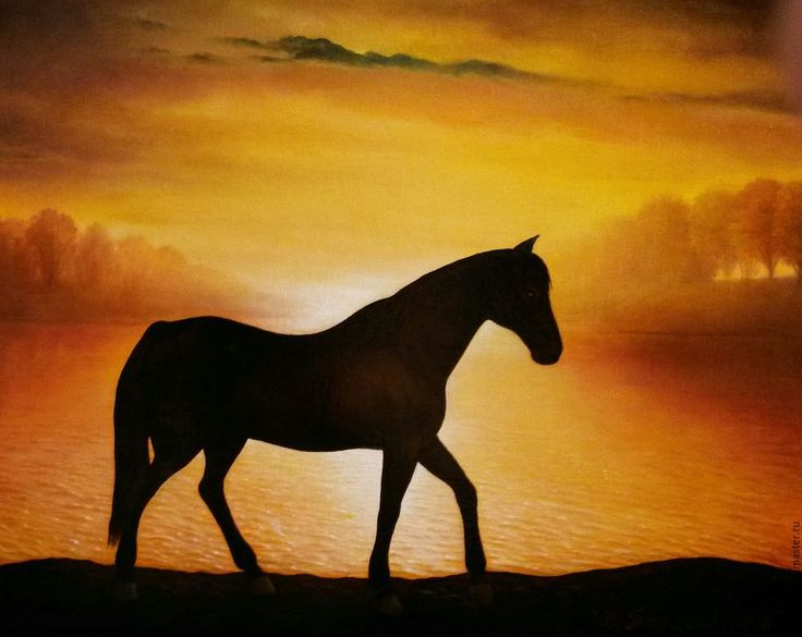 Buy Oil painting a Day leaving. - yellow, black, ochre, sunset, horse