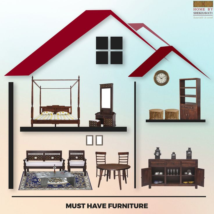 MUST HAVE FURNITURE FOR EVERY HOME.  A house is incomplete without certain items. Below are such items that are a must have to make your home a perfect living place.  1) Bed 2) Table 3) Chair 4) Sofa 5) Almirah 6) Mirror  To buy, visit www.homebyshekhavati.com