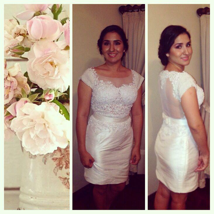 Hermosa nuestra clienta con un vestido corto, bordado en escote delantero, transparencia en espalda y manga enteramente bordada de perlas #marijoaltacostura