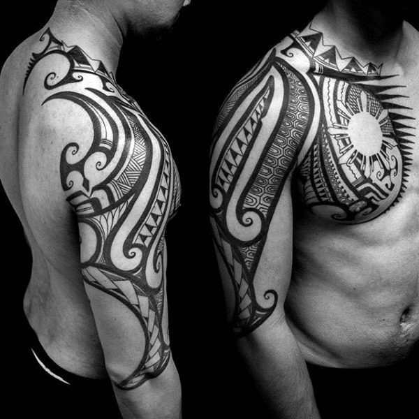 80 Tribal Shoulder Tattoos For Men Masculine Design Ideas Tribal Shoulder Tattoos Tribal Tattoos For Men Chest Tattoo Men