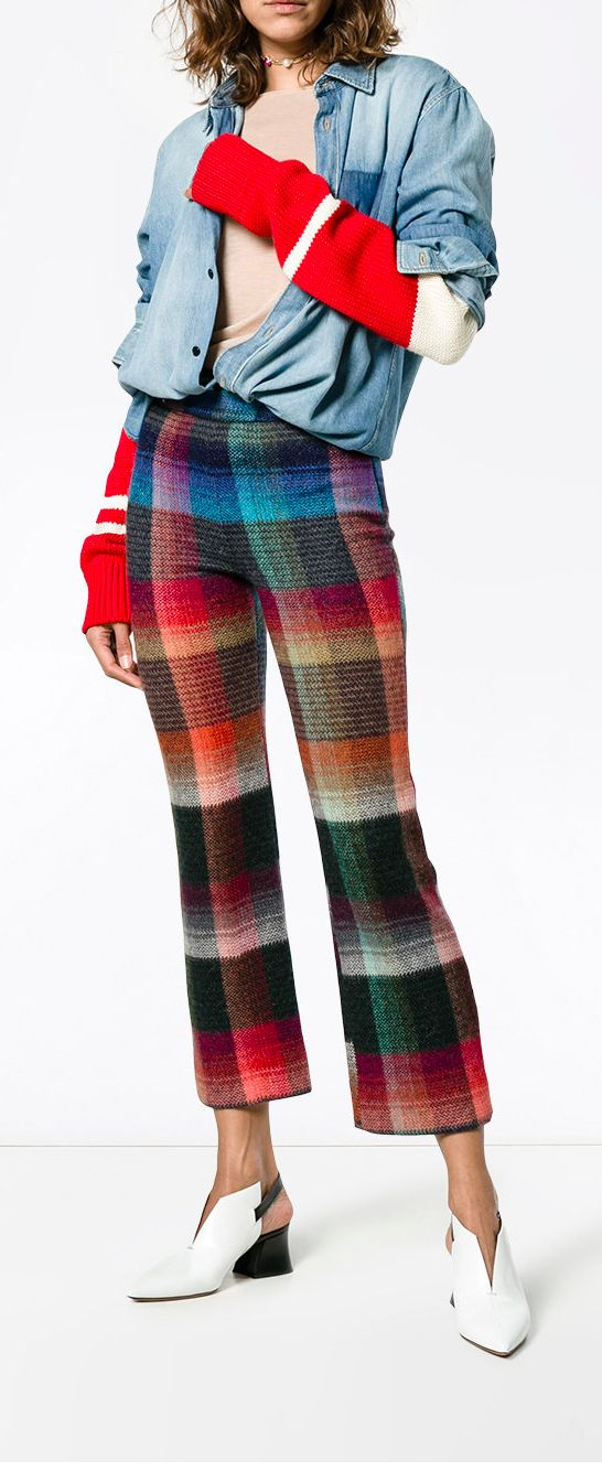 MISSONI Multi Coloured check cropped trousers, explore new season now on Farfetch.