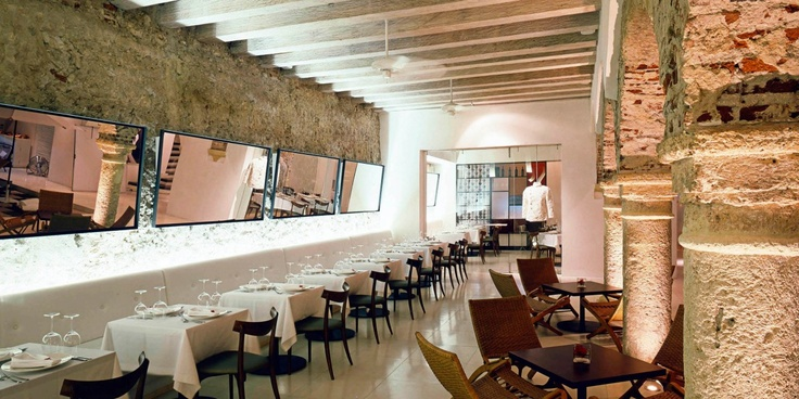 Vera, the hotel's on-site Italian restaurant, has a 250-year-old stone wall, set opposite a vertical garden. #Jetsetter