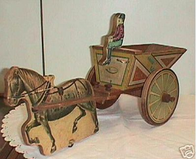 BLISS antique toy Sand & Gravel wagon wood paper litho