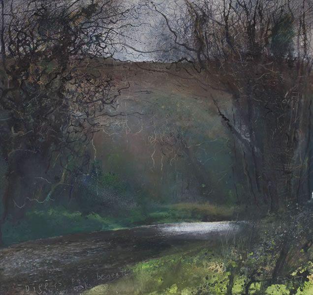 Dippers pass beneath Valency oaks. March 2011- Kurt Jackson