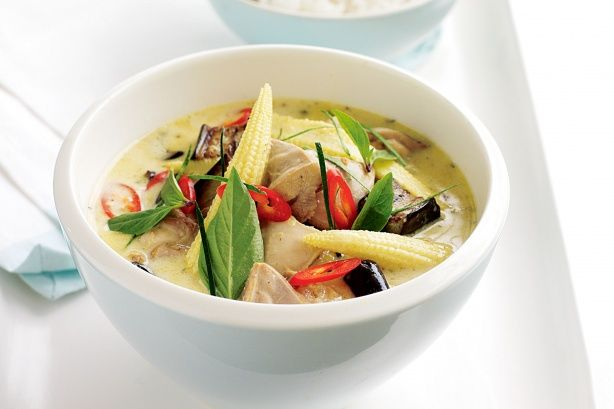 This spicy Thai-style green curry  with tender chicken thigh fillets, eggplant and baby corn will warm you up inside and out on cold winter nights.