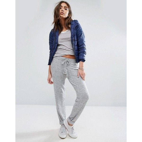 Tommy Hilfiger Denim Soft Touch Knitted Jogger (100 CAD) ❤ liked on Polyvore featuring activewear, activewear pants, grey, polo sweatpants, tall skinny jeans, gray jogger sweatpants, gray sweatpants and tall sweat pants