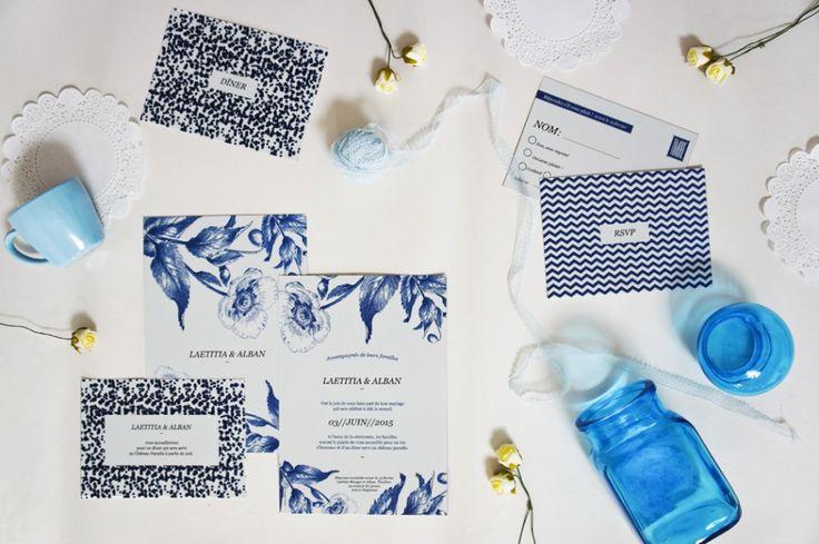 Papeterie de mariage inspiration bleu indigo - Papeterie: Papier and Co, collection Quelque chose de bleu 2015 - La Fiancée du Panda blog Mariage et Lifestyle