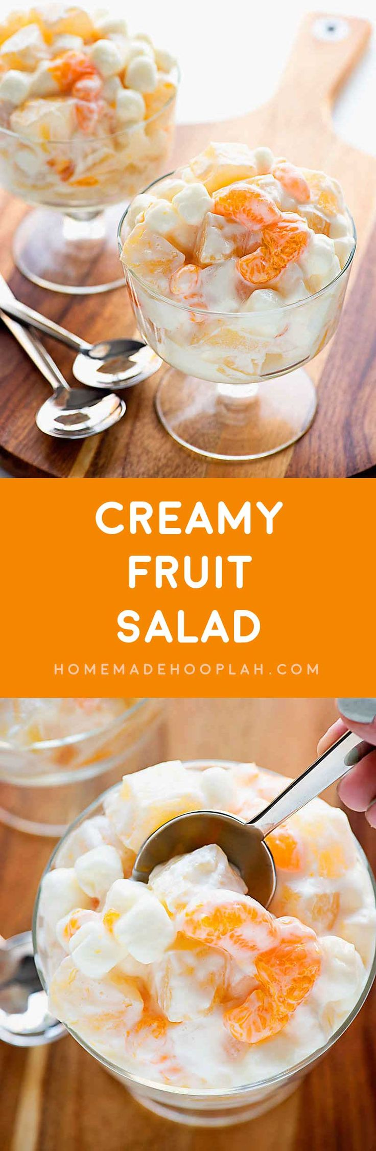 Creamy Fruit Salad! A summer-loving fruit salad with mandarin oranges…