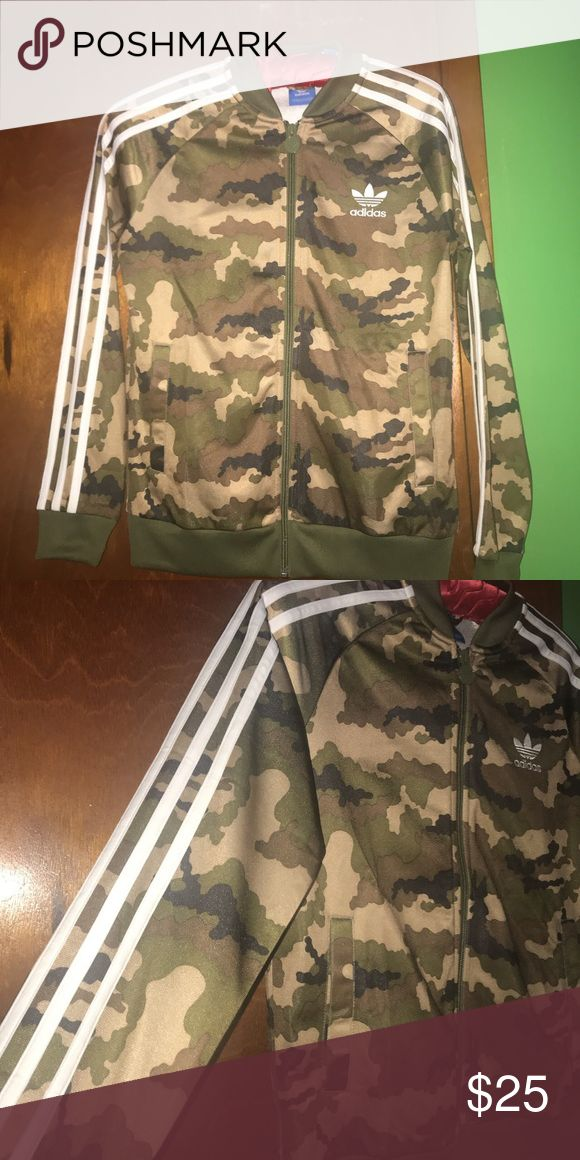 Adidas Camo Track Sweater *Adidas camouflage zip up track sweater. *Size small *Worn once, great condition! adidas Sweaters