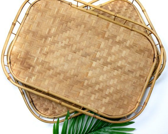 Vintage Rattan Serving Trays Set Of 2 Bamboo Lap Trays Wicker Serving Trays Boho Decor Coffee Table Tray Vintag Wicker Serving Trays Vintage Trays Lap Tray