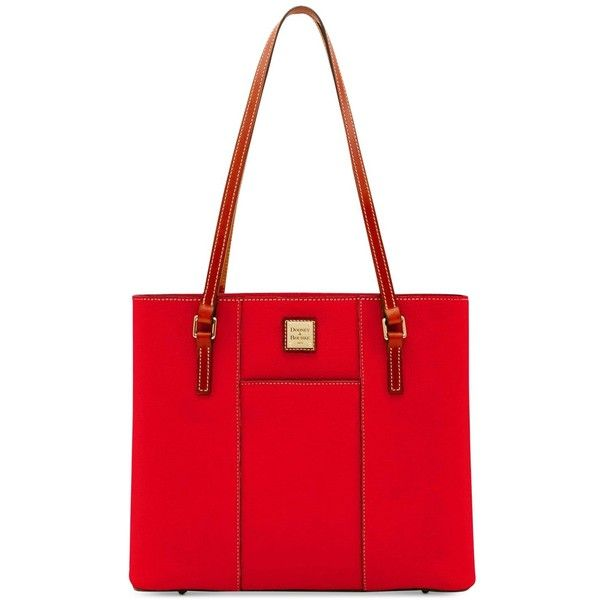 Dooney & Bourke Pebble Lexington Tote ($137) ❤ liked on Polyvore featuring bags, handbags, tote bags, red, tote purses, red tote, shopper tote bag, dooney bourke purses and red handbags