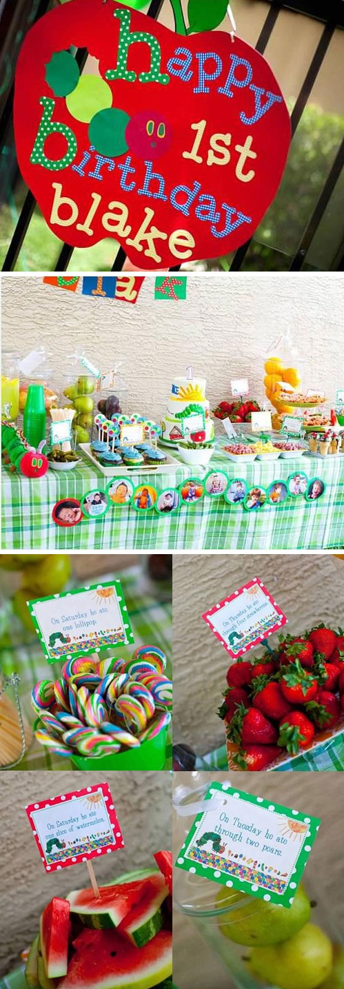 Themed first birthday party idea: The Very Hungry Caterpillar