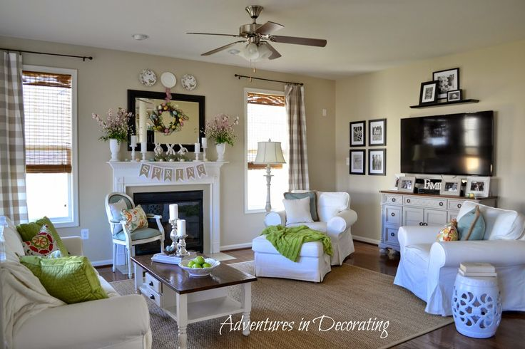 Adventures in decorating 2015 spring great room family for Spring living room ideas
