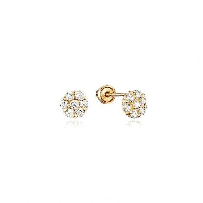 Baby And Children S Earrings 14k Gold White Cz Cered Flower Backs