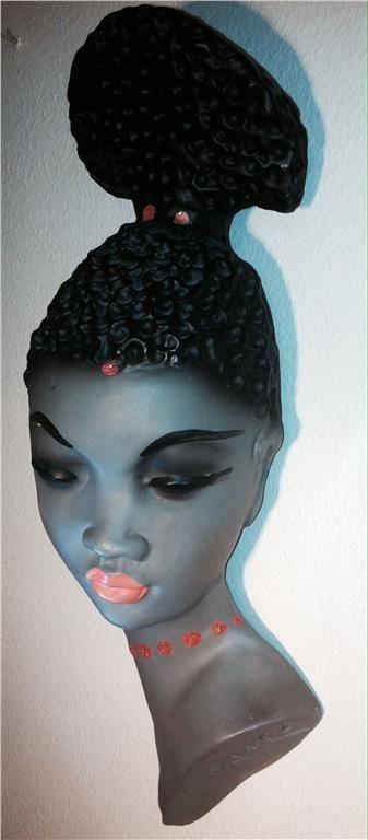 Annons på Tradera: Unik skulptur Gino Manca afrikanskt kvinnohuvud 50 60 70 tal retro vintage